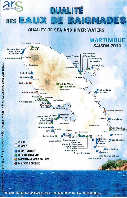 Carte plages Martinique